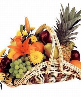 Fruit Flowers In A Fireside Style Basket